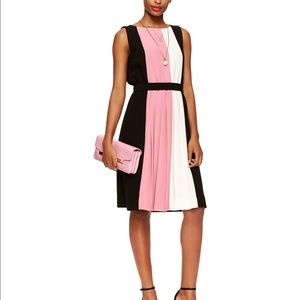 Kate Spade Rose Pink Color Block Pleated Dress